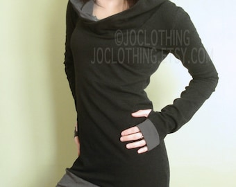 hooded tunic dress extra long sleeves w/thumb holes Black and Cement Grey