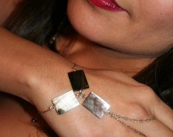 Stering Silver-Smokey Mother Of Pearl-Hand-Bracelet / Free US Shipping