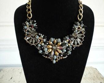 Vintage Crystal Aurora Borealis Rhinestone Black Jet Glass Gold Tone Statement Bib Necklace