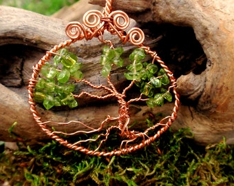 Peridot Tree of Life. wire wrapped tree. copper. wire wrapped jewelry handmade
