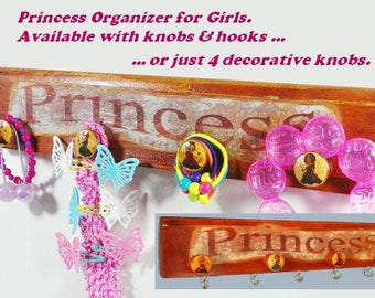 Princess Organizer for Girls, Perfect for Hanging Jewelry, Nursery Items, Headbands & Hair Elastics. In White, Brown or Color of Your Choice