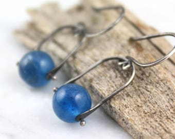 Blueberry Quartz Pinned Bail Oxidized Silver Earrings