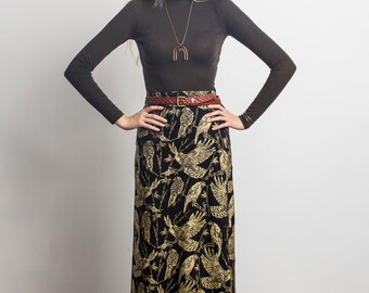 Maxi Skirt - Audubon Print - Birds of Prey - Printed Maxi - Long Skirt - Eco Clothing - Hand Printed - Gold on Black - ThiefandBandit®