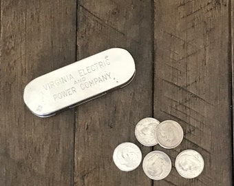 Metal Coin Organizer ~ Virginia Electric and Power Company Advertising ~ Jemco ~ Newark New Jersey ~ Vintage Collectible