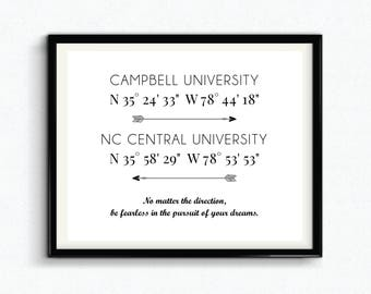 Personalized Graduation Gift, Custom University GPS Coordinates, Digital Download, College Coordinates, Longitude And Latitude Sign - (D186)