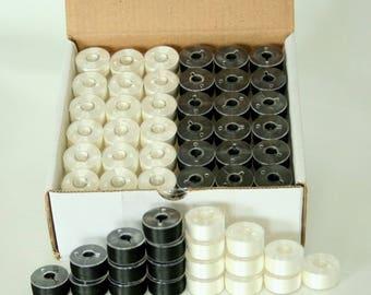 Pre-wound Plastic Bobbins - Black and White Embroidery Thread - SA156, Class 15, A size