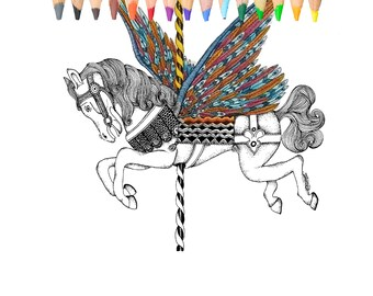 Horse, carousel, coloring book,coloring page.