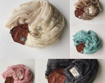 Studio amour courroie de l'appareil: sable dentelle foulard cuir dslr photographe pro