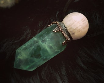 Rose Quartz & Fluorite wand