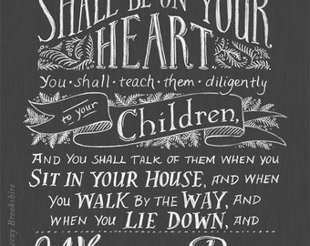 Teach Them Diligently - Chalkboard Bible Verse Art Print - 8x10