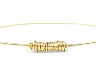 Guitar String Bracelet // Gold Bangle Bracelet // Eco-Friendly Jewelry // Thin Gold Bracelet / Bridesmaid Gift / Friendship Bracelet / Music