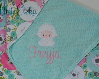 Personalized Baby Blanket, Minky Blanket, Personalized Name Blanket, Name and lamb Applique, Choose your colors, Choose your size.