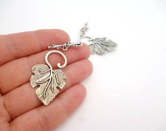 Silver Tone toggle clasp_PP1005887/3247_Silver Plated Leaf silver toggle clasp of 37  mm pack 8 pcs