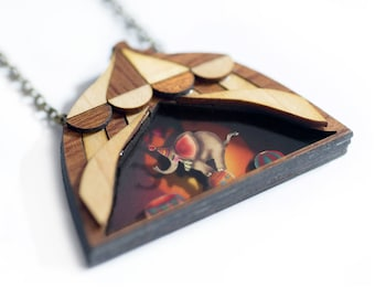 Dumbo Necklace.  Natural wood and 3D inside.