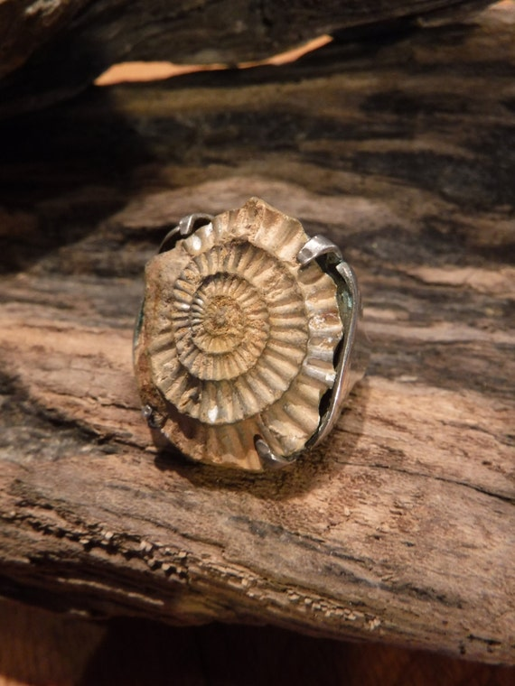 Vintage Sterling  Silver Ammonite  Ring  Heavy 16.2 Grams Size 6  Sterling Silver Fossil Ring Large Vintage Sterling Ring handmade Ring
