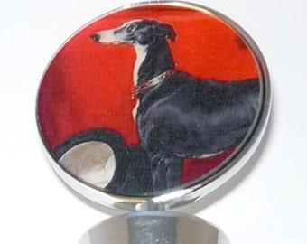 Tuxedo Greyhound Dog Wine Bottle Stopper Whippet