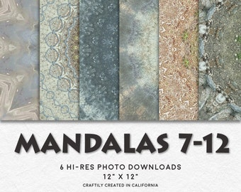 MANDALAS 7-12 Hi-Res Circular Pattern Backgrounds • Printable Digital Paper Set • Instant Download