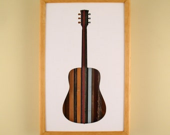 """Guitar - 17"""" by 11"""" Recycled Wood Silhouette Wall Art"""