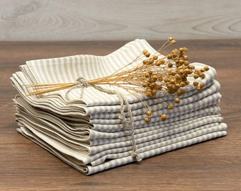 Linen Tea Towel 100 Natural Linen, Striped Linen Fabric, Set of 2