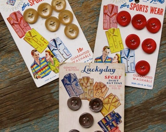 Vintage Carded Sports Wear Buttons