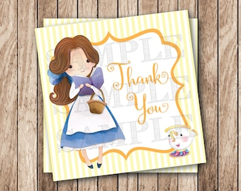 Instant Download . Printable Princess Belle Tags, Printable Belle Party Tags, Belle Thank You Tags, Beauty and the Beast Birthday Party Tags