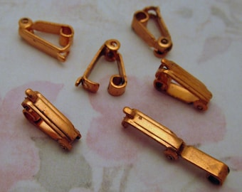 30 pcs. vintage copper coated steel fold over clasps 11x3mm - f2601