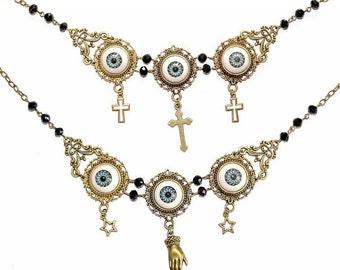 ORACLE NECKLACE statement eyeballs cross hand fortune teller cameo glass beads black bronze gothic victorian jewelry filigree gray handmade