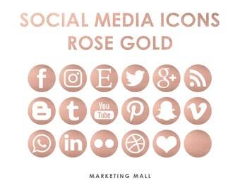 Rose Gold Social Media Icons, Social Media Buttons, Gold Social Icons, Blog Icons, Website Branding, Blog Buttons, Gold Foil Icons