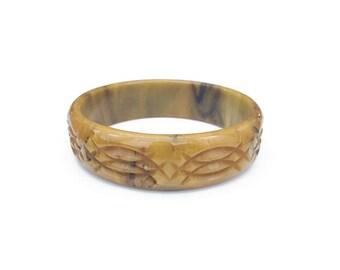 Carved Bakelite Bangle Bracelet, Mississippi Mud, Deeply Carved, Bakelite Bangle, Bakelite Bracelet, Vintage Bracelet