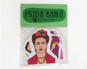 Frida Kahlo - 12 pc sticker set -Frida Kahlo sticker pack - Frida Kahlo sticker set - Frida Kahlo art -Feminist stickers -LGBT stickers