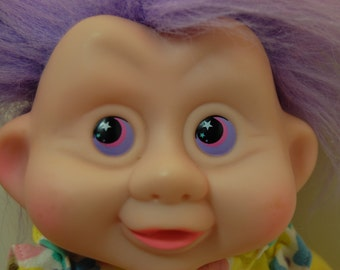Vintage Magic Troll Babies Plush Doll, Purple Hair, 80s 90s, Applause 1991