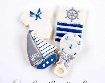 Half Dz. Nautical Baby Cookies! A Sailor of the 7 Seas!