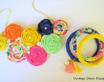 Boho Statement Necklace, Boho Necklace,Boho Floral Necklace,Trendy Statement Necklace,Bridesmaid Necklace,Boho Bridal Jewelry,Fabric Jewelry