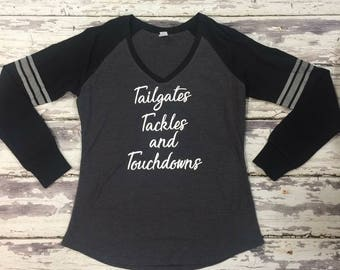 Tailgates Tackles and Touchdowns Long Sleeve V-Neck Tee Shirt
