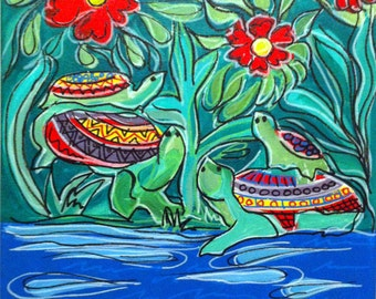Mexican Folk Art - TURTLES - PRINT Signed By Artist A.V.Apostle