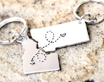 CUSTOM State Keychains LDR Long Distance Relationship Keychains - Set of Two