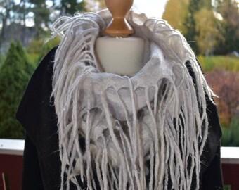White Grey Snoods Scarf Wool Silk Felted Handmade Winter Autumn