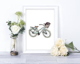 Retro// Beach Cruiser Watercolor// Printable