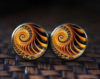 Golden Fractal cufflinks, Fractal cufflinks, Fractal jewelry, Fibonacci Spiral cufflinks, Golden Ratio, Sacred geometry cufflinks,