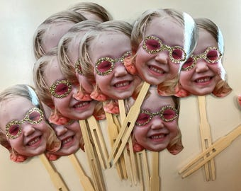 personalized swim party photo cupcake toppers or drink stirrers . set of 12