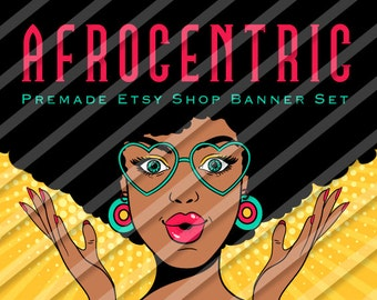 "Etsy Shop Banner Set - Graphic Banners - Branding Set - ""Afrocentric 1"""