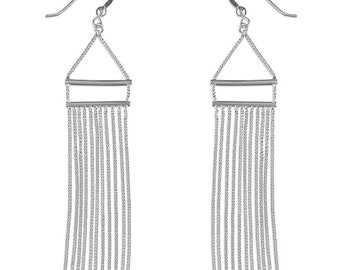 Double Bar and Chain Tassel Drop Sterling Silver Earrings