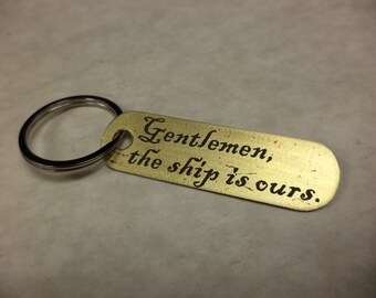 Pirates inspired etched brass keychain