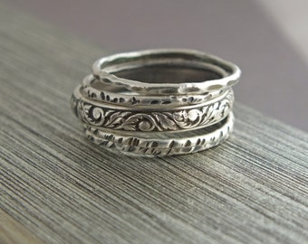 Stacking Rings, Oxidized Ring, Stackable Rings, Stacking Ring Set, 5 Ring Set, Five Ring Set, Hammered Rings, Set of Five, Silver Ring Set