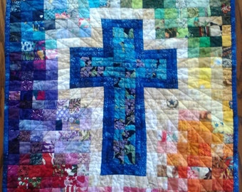 Quilt Pattern, Watercolor Rainbow Religious Cross, Christian faith quilter, Unique gift for Bible Study friend, Make Wall Hanging Banner