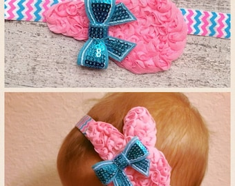 READY TO SHIP Pink and Blue Easter Bunny Headband.  Baby's First Easter.