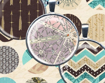 Vintage World Travel Digital Collage Sheet 1 inch Circles Instant Download French Chevron Maps Compass for Crafts Jewelry piddix 935