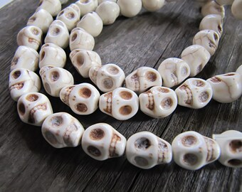 10mm Imitation Turquoise Skull Beads in Antiqued Off White, 10mm x 8mm, 20 Beads