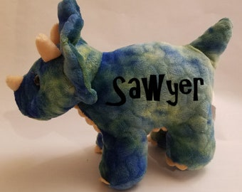 Triceratops, Green, Blue, Stuffed Animal, Personalized