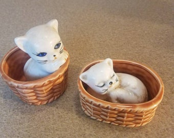Beige off white cats with blue eyes and tan mouth in porcelain ceramic baskets set of 2